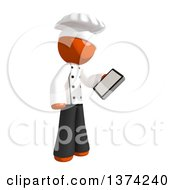 Orange Man Chef Looking At A Smart Phone On A White Background