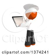 Orange Man Chef Using A Tablet Computer On A White Background