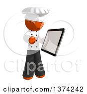 Clipart Of An Orange Man Chef Using A Tablet Computer On A White Background Royalty Free Illustration by Leo Blanchette