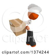 Orange Man Chef Holding A Box On A White Background