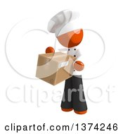 Clipart Of An Orange Man Chef Holding A Box On A White Background Royalty Free Illustration by Leo Blanchette