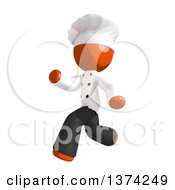 Clipart Of An Orange Man Chef Running On A White Background Royalty Free Illustration by Leo Blanchette