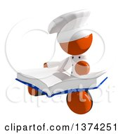 Clipart Of An Orange Man Chef Reading A Book On A White Background Royalty Free Illustration by Leo Blanchette