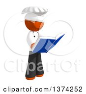 Orange Man Chef Reading A Book On A White Background