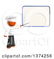 Clipart Of An Orange Man Chef Pointing To A White Board On A White Background Royalty Free Illustration by Leo Blanchette