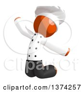 Clipart Of An Orange Man Chef Jumping On A White Background Royalty Free Illustration by Leo Blanchette