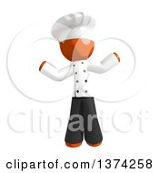 Clipart Of An Orange Man Chef Shrugging On A White Background Royalty Free Illustration by Leo Blanchette