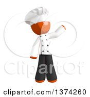 Orange Man Chef Waving On A White Background