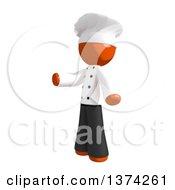 Orange Man Chef Presenting On A White Background