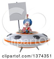 Clipart Of A 3d Colorful Clown Flying A Ufo On A White Background Royalty Free Illustration