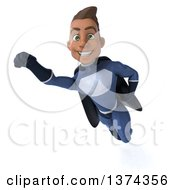 Clipart Of A 3d Young Indian Male Super Hero In A Dark Blue Suit On A White Background Royalty Free Illustration