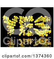 Clipart Of A 3d YES Formed With Green And Yellow Bubbles On A Black Background Royalty Free Illustration