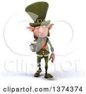 3d Skinny Leprechaun Holding A Beer On A White Background