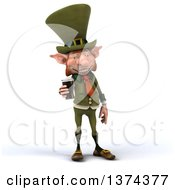 Clipart Of A 3d Skinny Leprechaun Holding A Beer On A White Background Royalty Free Illustration by Julos