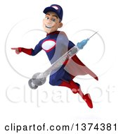 Clipart Of A 3d Young White Male Super Hero Mechanic In Red And Dark Blue Holding A Giant Vaccine Syringe And Flying On A White Background Royalty Free Illustration