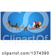 Clipart Of A 3d Christmas Santa Claus Flying In His Sleigh With Reindeer Over Blue Royalty Free Illustration