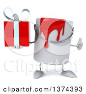 3d Can Of Red Paint Character Holding A Gift On A White Background