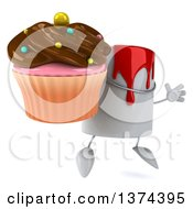 3d Can Of Red Paint Character Holding A Chocolate Frosted Cupcake On A White Background