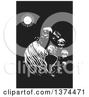 Poster, Art Print Of Black And White Woodcut Earth With A Row Of Skulls Symbolizing Death