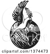 Black And White Woodcut Peace Dove Flying Over Earth With A Branch
