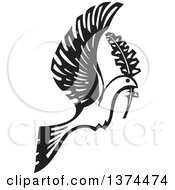 Clipart Of A Black And White Woodcut Peace Dove Flying With A Branch Royalty Free Vector Illustration