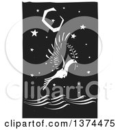 Clipart Of A Black And White Woodcut Peace Dove Flying With A Branch Over The Ocean At Night Royalty Free Vector Illustration by xunantunich