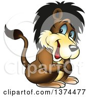 Clipart Of A Handsome Blue Eyed Lion Crouching With Folded Arms Royalty Free Vector Illustration