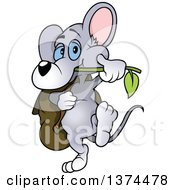 Clipart Of A Cute Blue Eyed Gray Mouse Chewing On A Branch And Carrying A Bag Royalty Free Vector Illustration