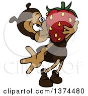 Clipart Of A Cute And Carrying A Strawberry Royalty Free Vector Illustration