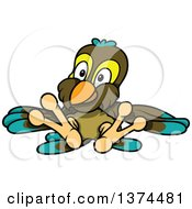 Clipart Of A Cute Parrot Sitting And Leaning Back Royalty Free Vector Illustration by dero