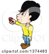 Clipart Of A Boy Holding Out A Red Ruby Gem Royalty Free Vector Illustration by dero