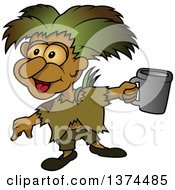 Clipart Of A Poor Homeless Sprite Holding A Cup Royalty Free Vector Illustration