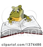 Clipart Of A Female Frog Reading A Book Royalty Free Vector Illustration by dero