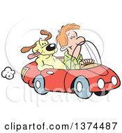 Cartoon Clipart Of A Red Haired White Man Cruising In His Red Convertible Car With A Dog In The Passenger Seat Royalty Free Vector Illustration