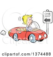 Cartoon Clipart Of A Blond White Woman Driving The Wrong Direction Down A One Way Street In Her Red Convertible Car Royalty Free Vector Illustration