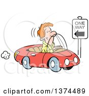 Cartoon Clipart Of A Red Haired White Man Driving The Wrong Direction Down A One Way Street In His Red Convertible Car Royalty Free Vector Illustration by Johnny Sajem
