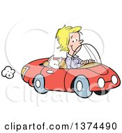 Cartoon Clipart Of A Blond White Woman Cruising In Her Red Convertible Car With A Chihuahua Dog In The Passenger Seat Royalty Free Vector Illustration