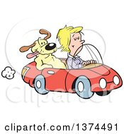 Cartoon Clipart Of A Blond White Woman Cruising In Her Red Convertible Car With A Dog In The Passenger Seat Royalty Free Vector Illustration by Johnny Sajem