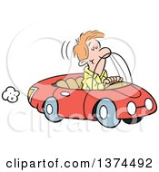 Cartoon Clipart Of A Red Haired White Man Cruising In His Red Convertible Car Royalty Free Vector Illustration by Johnny Sajem