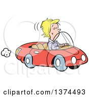 Cartoon Clipart Of A Blond White Woman Cruising In Her Red Convertible Car Royalty Free Vector Illustration