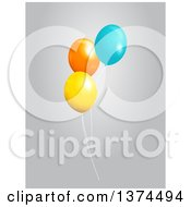 3d Yellow Orange And Blue Party Balloons Over Gray