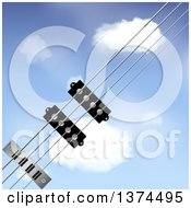 Clipart Of 3d Bass Guitar Strings Diagonally Over A Blue Sky With Puffy Clouds Royalty Free Vector Illustration