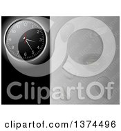 Clipart Of A 3d Wall Clock Over A Black Panel With Text Space Next To A Gray Panel With Warped Clocks And Time Text Royalty Free Vector Illustration by elaineitalia