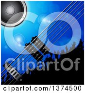 Background Of 3d Electric Guitar Strings A Music Speaker And Silhouetted Concert Crowd Over Blue With Flares