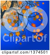 Clipart Of Branches Of A Tree With Orange Autumn Leaves Against A Blue Sky And Sunset Royalty Free Vector Illustration