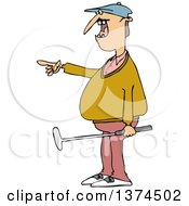 Clipart Of A Chubby White Male Golfer Holding A Club And Pointing To The Left Royalty Free Vector Illustration
