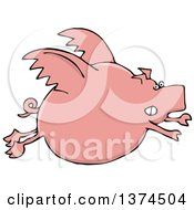 Clipart Of A Cartoon Chubby Pink Pig Flying Royalty Free Vector Illustration by djart