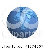 3d Blue Political Globe With Extruded Countries Centered On Africa On A White Background