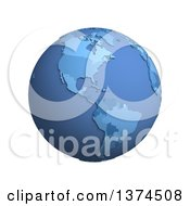 3d Blue Political Globe With Extruded Countries Centered On The Americas On A White Background