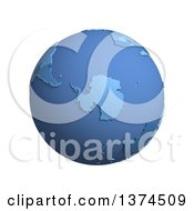 3d Blue Political Globe With Extruded Countries Centered On Antarctica On A White Background